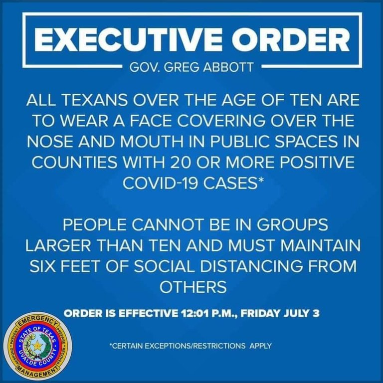 Gov. Abbott Requires Face Masks in Response to COVID-19